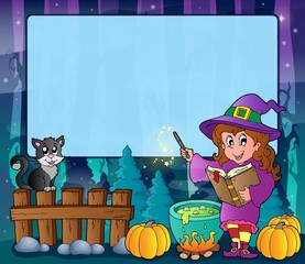 Mysterious forest Halloween frame 7