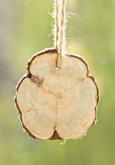 Wooden signboard on a rope