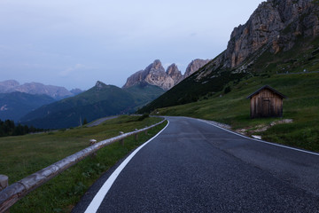Alpine road in Dolomites