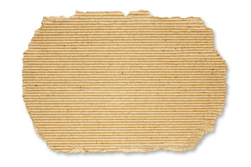 Torn square of cardboard, isolated on a white background.