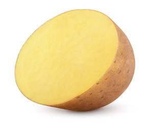 Half of potato isolated on white background with clipping path