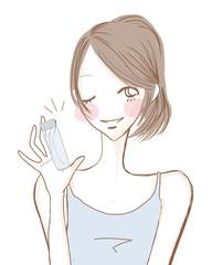 毎日のスキンケア/髪の長い女性
