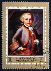 Postage stamp Ajman 1972 Wolfgang Amadeus Mozart as Child