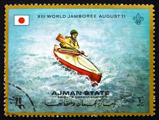 Postage stamp Ajman 1971 Kayak Single