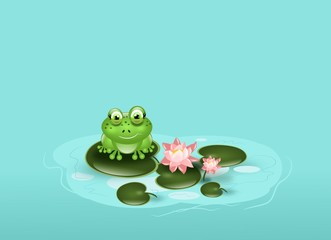 Frog on waterlily background