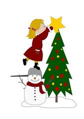Girl decorating the Christmas tree
