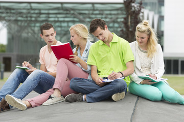 Four students learning while sitting on the ground