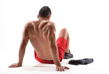 Hombre atleta deportista agotado.corredor decepcionado.