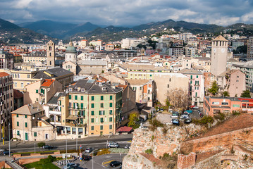 Old towers in Savona, Italy, travel landmark