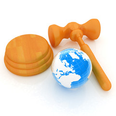 Wooden gavel and earth isolated on white background. Global auct