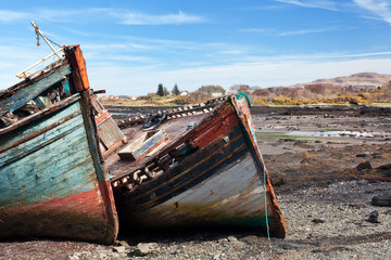 Boat wrecks on Salen bay, Isle of Mull, Scotland