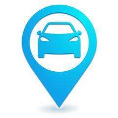 voiture sur symbole localisation bleu