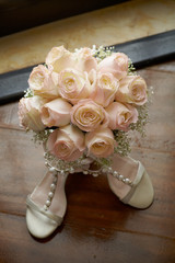bouquet with shoes a
