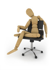 Bad ergonomics: figure sits on office chair