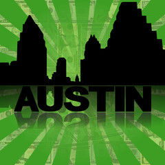 Austin skyline reflected with dollars sunburst illustration