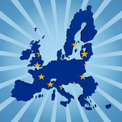 EU map flag on blue sunburst illustration