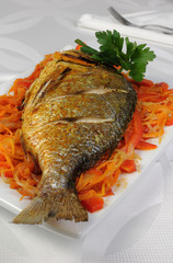 Fried Fish (Dorado) on vegetable cushion