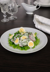 Radish salad with cucumber and eggs for milk sauce