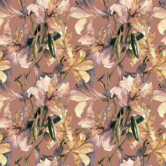 White lily seamless pattern