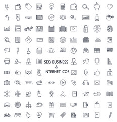 Set of lines of icons SEO, business, media, and science.