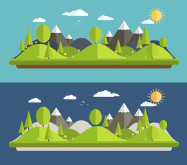 Natural landscapes in a flat style on blue background