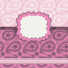 Design template,envelop or card with Paisley lice ornament