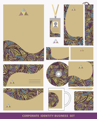 Corporate identity business set design.Ethnic triangles pattern