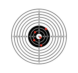 black and white target with red holes