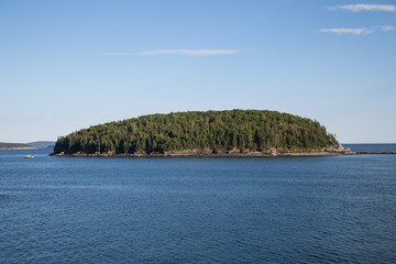 Evergreen Island on Blue Water