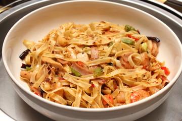 Sea food spaghetti basil spicy and sour