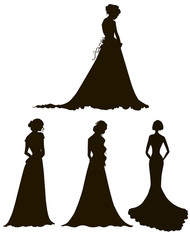 young women in long dresses silhouettes. Brides.