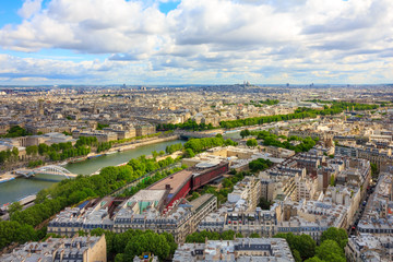 View of Paris, river Seine from the Eiffel tower