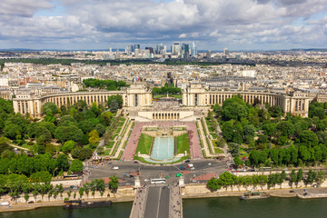 View of Paris - River Seine, the Palais de Chaillot, La Defense