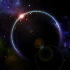 rising sun of planet earth