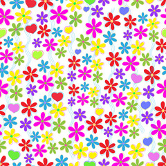 Seamless background with flowers and hearts