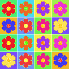 Set of multicolored flowers