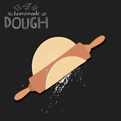 Chalkboard style dough with rolling pin. Vector