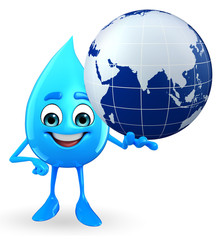 Water Drop Character with globe