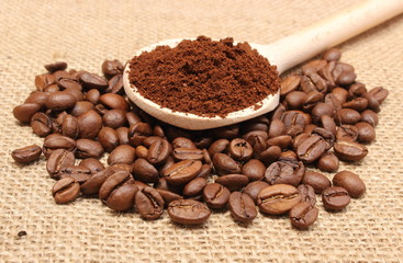 Ground coffee on wooden scoop and grains coffee