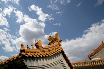 Traditional decoration of the roof of a Buddhist temple, Beijing