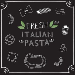 Italian pasta and pizza logos with lettering
