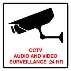 CCTV audio and video surveillance 24 hours, sign, vector