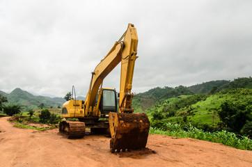 excavator loder machine works outdoors