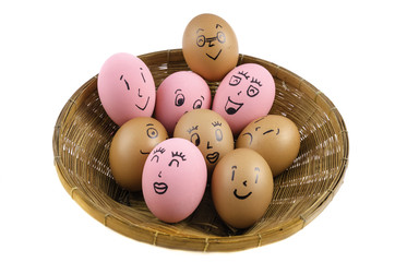 Eggs face with emotion on the white background