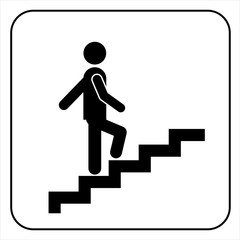 Man on Stairs going up symbol, vector