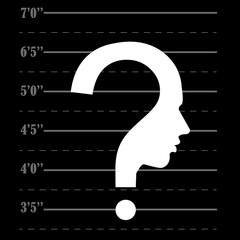 Mugshot question mark human head symbol, vector