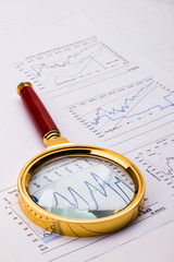 financial analysis concept including statistics graphs charts