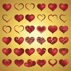 Set of red symbol heart, vector