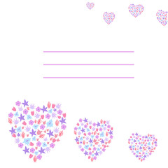 greeting card with flowers hearts