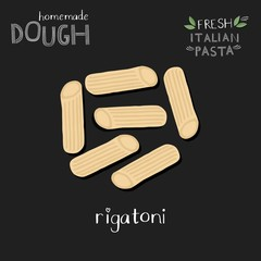 Rigatoni illustration on chalkboard with hand lettering